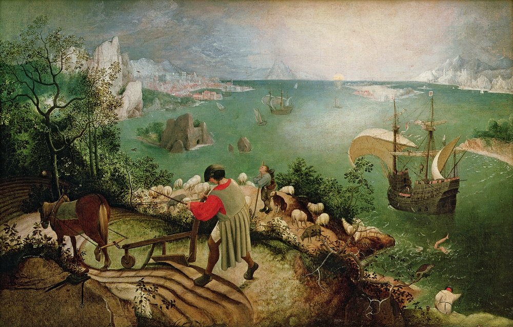 Pieter Bruegel the Elder, Landscape with the Fall of Icarus (1555–1560?), source: public domain source: public domain (Royal Museums of Fine Arts of Belgium)